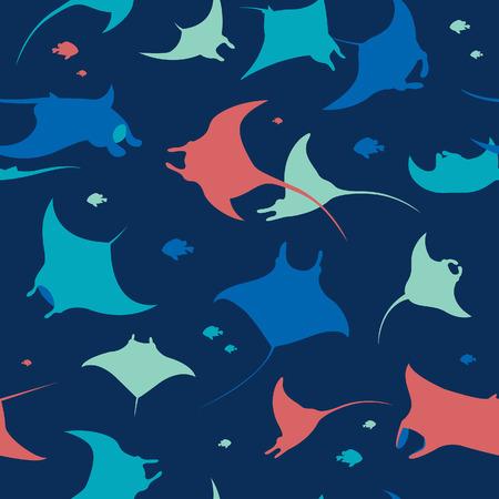 Nahtloses Muster mit Silhouette von Mantas auf blauem Hintergrund. Tapete mit Meerestieren.