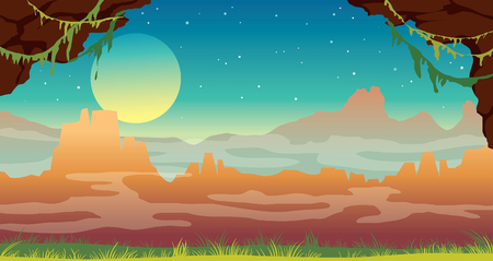 landscape with green grass, cave, fog and silhouette of mountains on a night starry sky with full moon. Nature summer image.