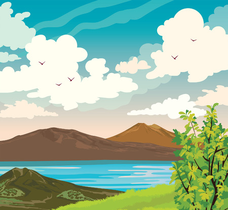 Spring landscape with mountains, green grass and tree, lake and cloudy blue sky with birds. Vector nature illustration. Illustration