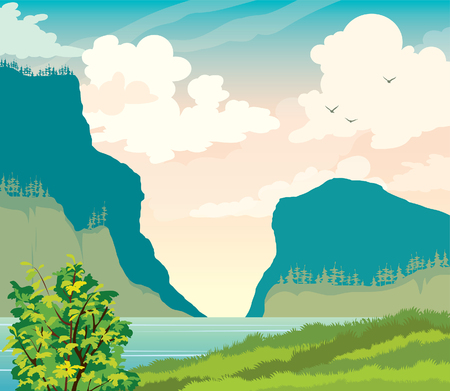 Summer landscape with green tree, calm sea bay and silhouette of mountains on cloudy sky. Vector nature illustration.