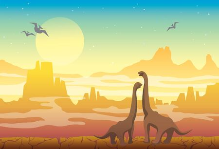 Prehistoric illustration with extinct animals. Vector nature landscape with diplodocus and pterodactyls on a yellow mountains at the night time.