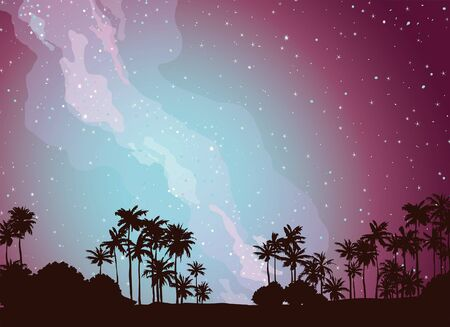 Silhouette of palm trees on a night sky with milky way and stars. Vector tropical illustration.