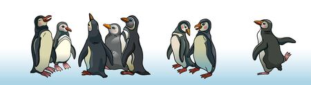 The flock of funny chatting penguins on a white background. Group of cartoon Magellanic penguins. Vector illustration.