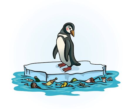 Sad penguin sitting on a melting ice in a midst of polluted sea. Global pollution problem. Vector illustration about ecological problem.