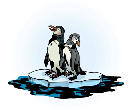 Two sad penguins sitting on a melting ice in a midst of polluted sea. Global pollution problem. Vector illustration about ecological problem. Ilustração