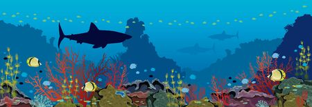Panorama of underwater nature and marine wildlife. Silhouette of sharks, school of tropical fishes and coral reef on a blue sea background. Vector ocean illustration.