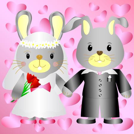 Texture of cartoon bunnies bride and groom Vector