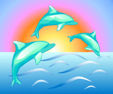 small flock: Illustration of the dolphins in sea on the sunset