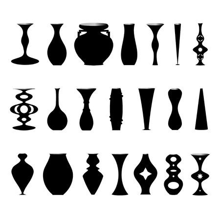 decorative urn: Isolated illustration set of silhouettes of vases Illustration