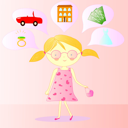 Illustration of a girl in glasses with handbag and dreams Vector