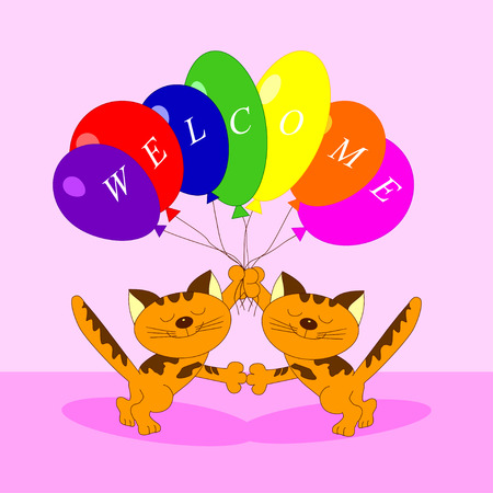 Illustration of the cats with balloons welcome Vector
