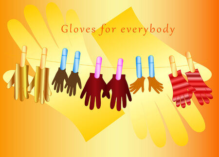 everybody: Texture of the gloves with clothespins on the lace and inscription for everybody