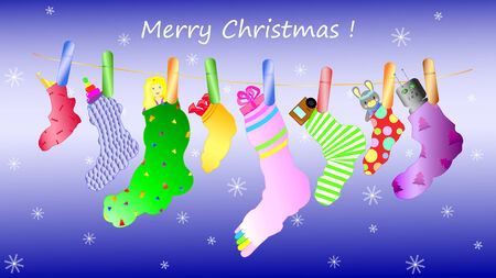 Texture of the socks with clothespins on the lace Merry Christmas Vector