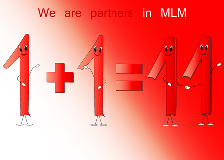 mlm: Illustration of number one and eleven for MLM