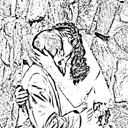 Black and white illustration of kiss and hug the bride and groom