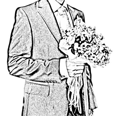 bridegroom: Isolated illustration of bridegroom with a wedding bouquet