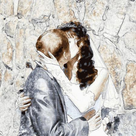 Illustration of kiss and hug the bride and groom Illustration
