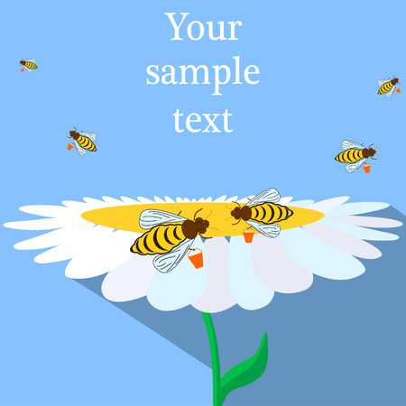 creeps: Flat illustration of bees with buckets and flower