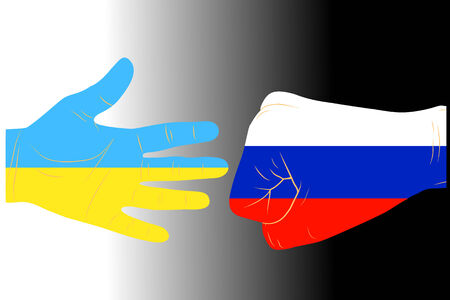 battle evil: Illustration of two arms-flags Ukraine and Russia