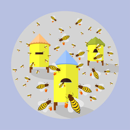 creeps: Flat illustration of icon bees flying into the hives