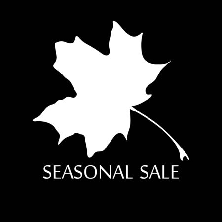 realize: Illustration of silhouette maple leaf and words seasonal sale