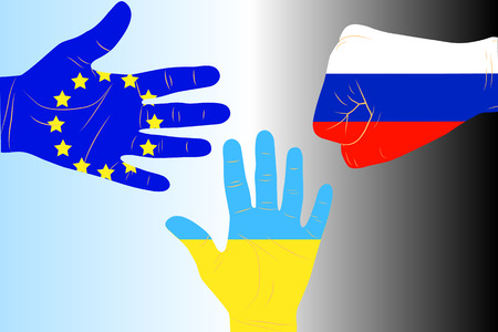 neighbourly: Illustration of three arms-flags Ukraine, European Union and Russia