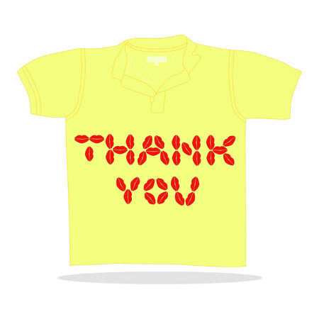 interesting: Isolared illustration of t-shirt with lips thank you