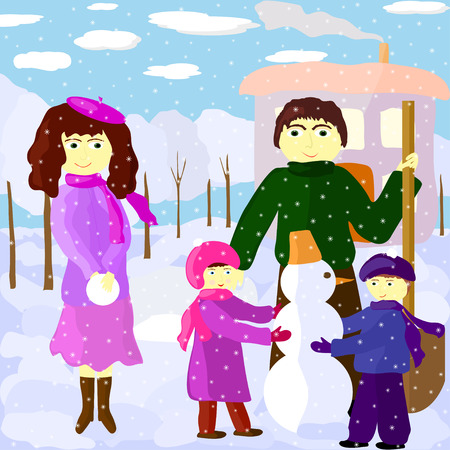Illustration of father, mother, daughter and son outdoors in winter Vector
