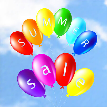 colored balloons: Illustration of colored balloons on the sky summer sale