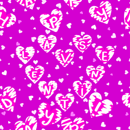 piebald: Seamless texture of hearts happy Valenine Illustration