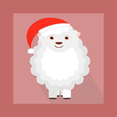 new year's cap: Cartoon illustration of sheep with Christmas hat
