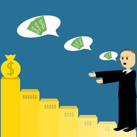 mlm: Illustration of flat graphics with man on the steps of money Illustration