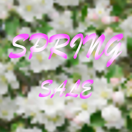 apple blossom: Abstract illustration of apple blossom and words spring sale