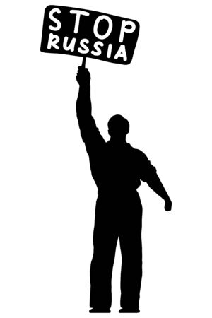 Isolated illustration of silhouette of a man with a banner stop Russia