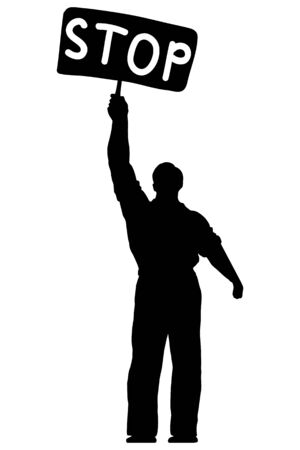 occupant: Isolated illustration of silhouette of a man with a banner stop