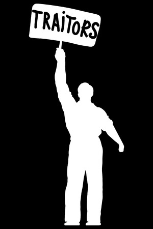 traitor: Isolated illustration of silhouette of a man with a banner traitors