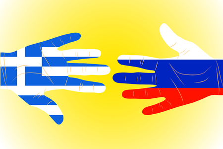 neighbourly: Illustration of two arms-flags Russia and Greece