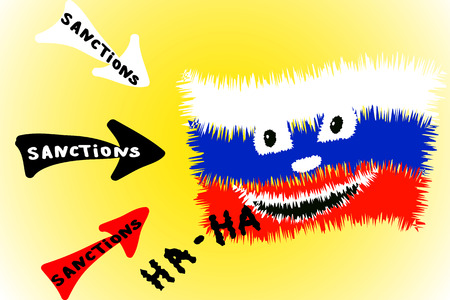 ignore: Cartoon illustration of arrows directed sanctions on Russian flag Illustration