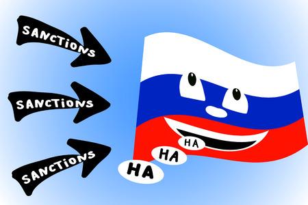 ha: Cartoon illustration of arrows directed sanctions on Russian flag Illustration
