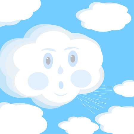 blows: Abstract cartoon illustration of wind that blows on the clouds