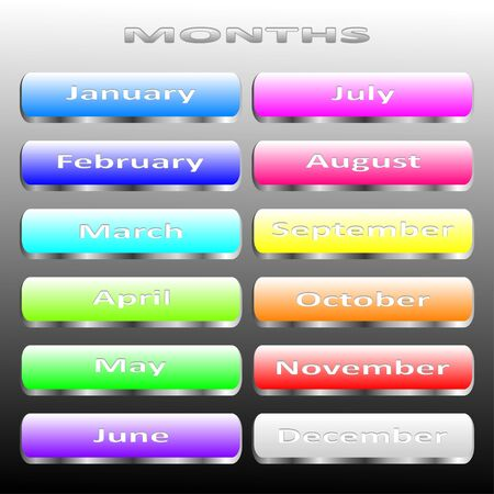 months of the year: Metal buttons months of the year for web design