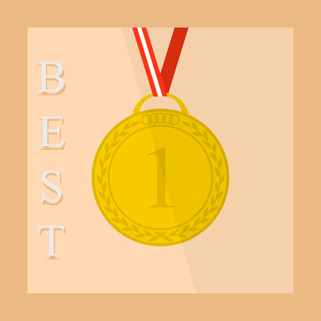 1 place: Flat icon of sports competition medal with ribbon 1 place
