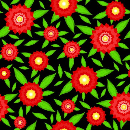 georgina: Seamless texture of red flowers with leaves