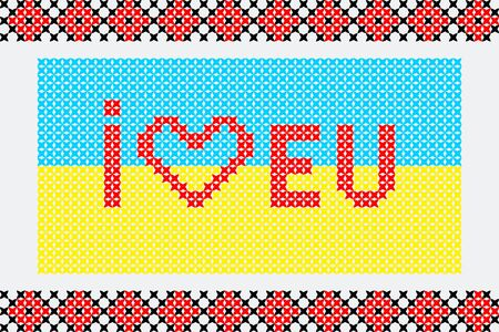 ukrainian flag: Illustration of embroidered ukrainian flag I love EU Illustration