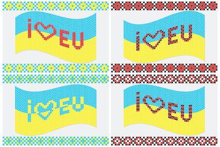 gestickt: Illustration von bestickten ukrainischen Flagge Ich liebe EU