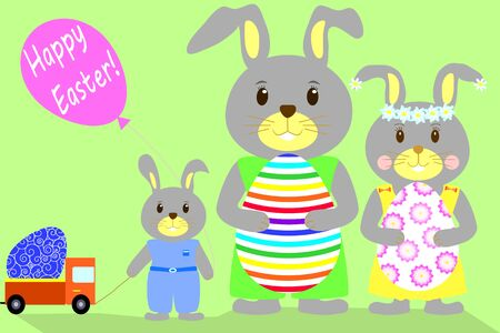 he is beautiful: Flat illustration a family of rabbits with eggs Happy Easter