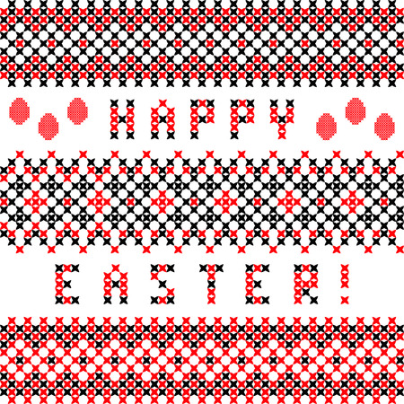 Abstract flat set of Easter red black ornaments Vector