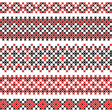 red on black: Seamless texture of flat red black ornaments