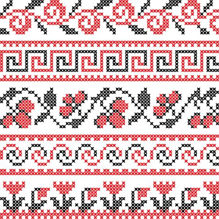 Texture of abstract flat red black ornaments Illustration