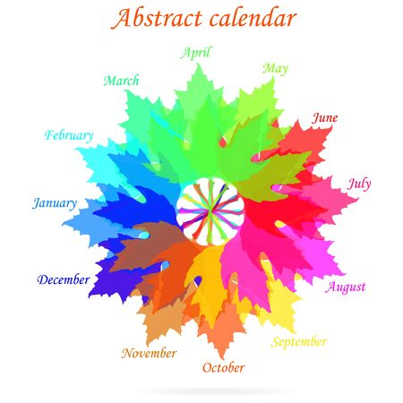 10 12 years: Isolated abstract calendar with colored leaves of spring, summer, autumn, winter Illustration